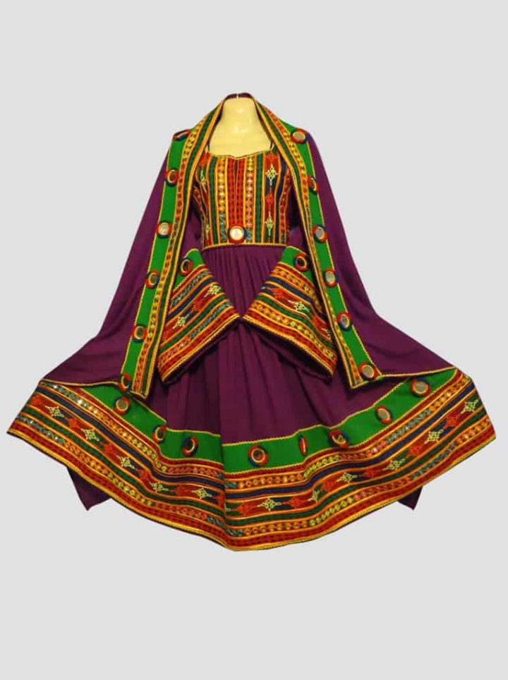 Purple Green Afghani Frock