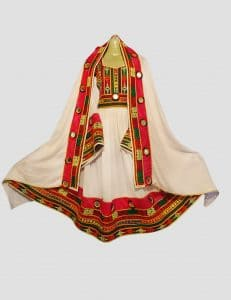 Red & White Afghani Frock Dress