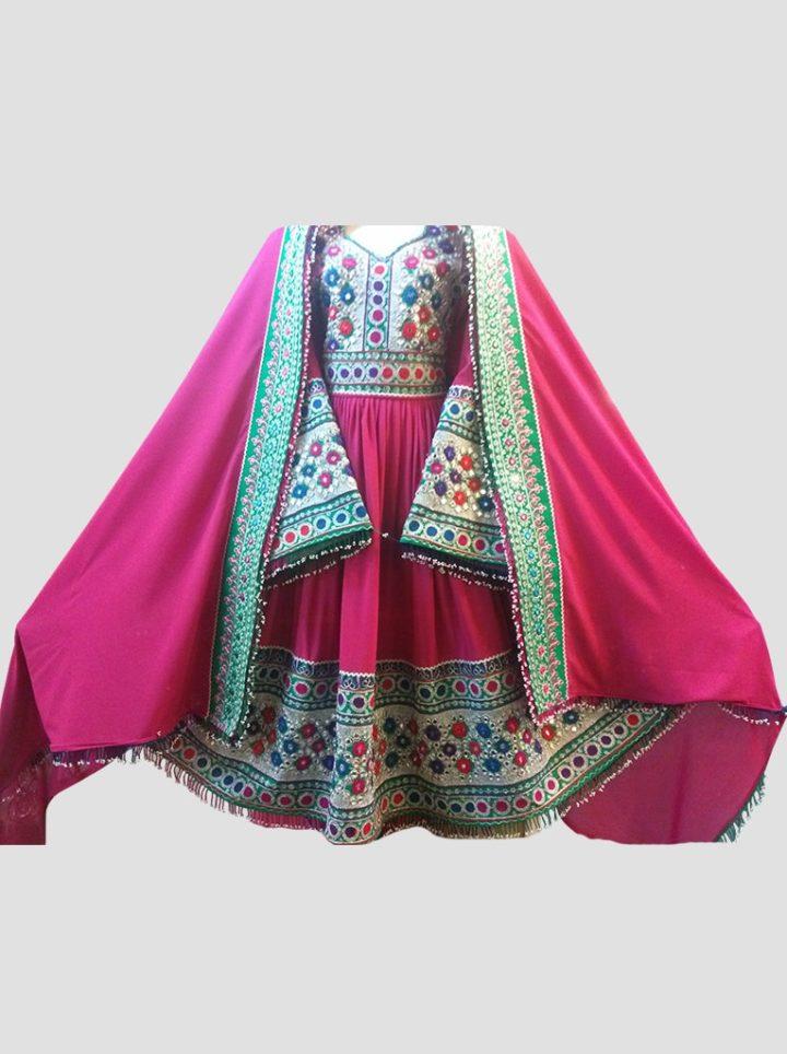 Amaranth Afghan Kuchi Dress