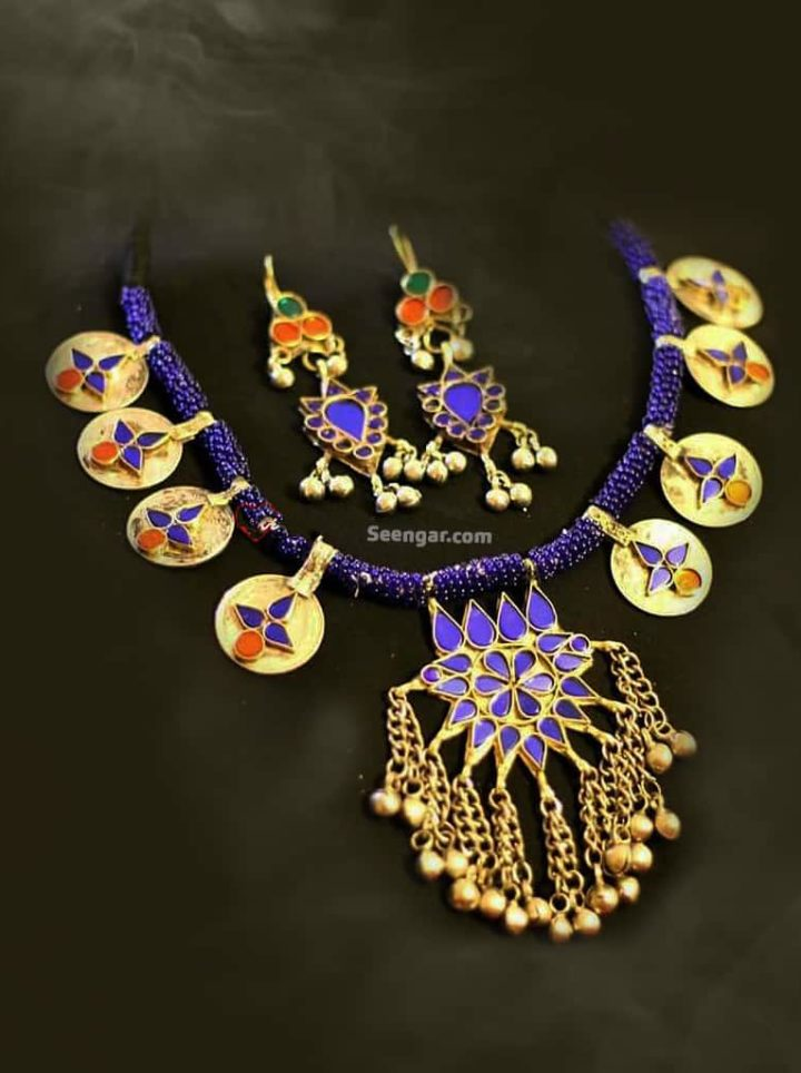 Blue Mughal Princess Necklace & Hanging Earrings