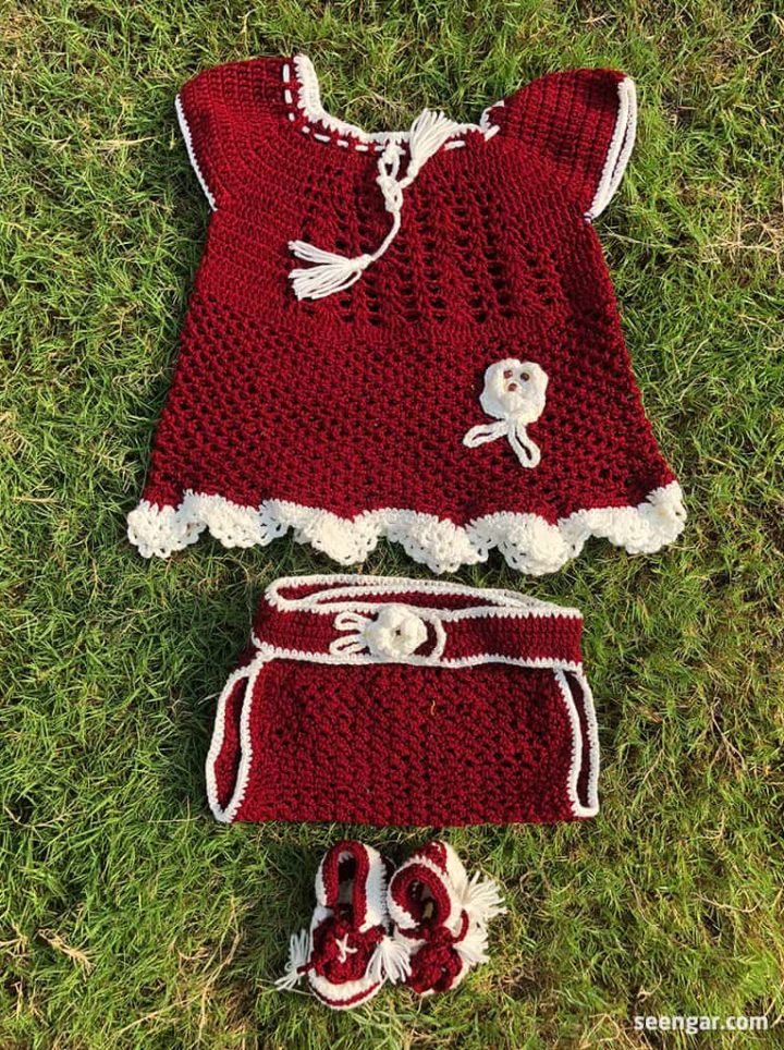 Hand Woven Crochet Red Kids Suit 2