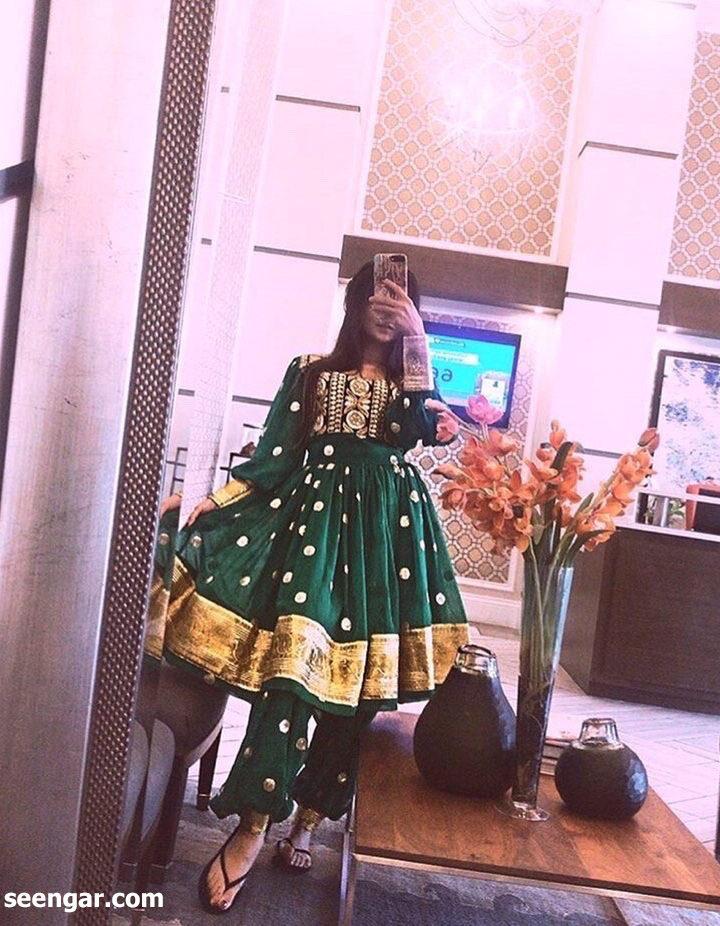 Pine Greet Afghan Dress
