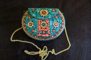 Mosaic Brass Metal Evening Clutch