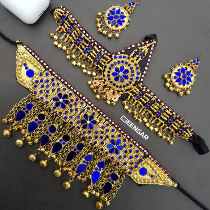 Golden Blue Afghan Jewelry Set