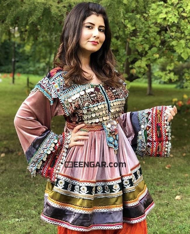 Multi Velvet Afghan Dress