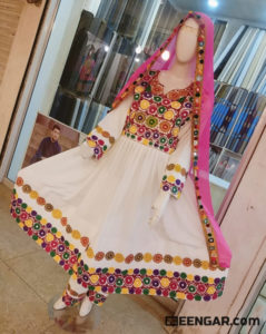 Floral White Afghan Clothes