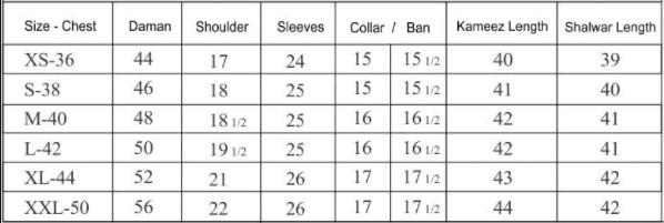 Shalwar Qameez Size Chart
