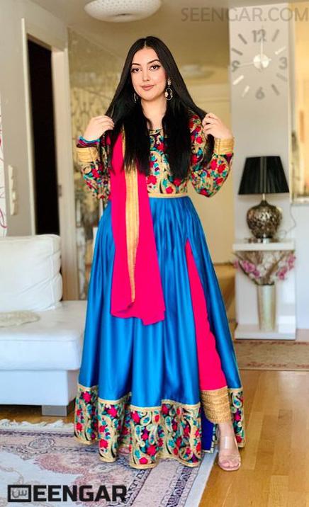 Azure Floral Modern Dress