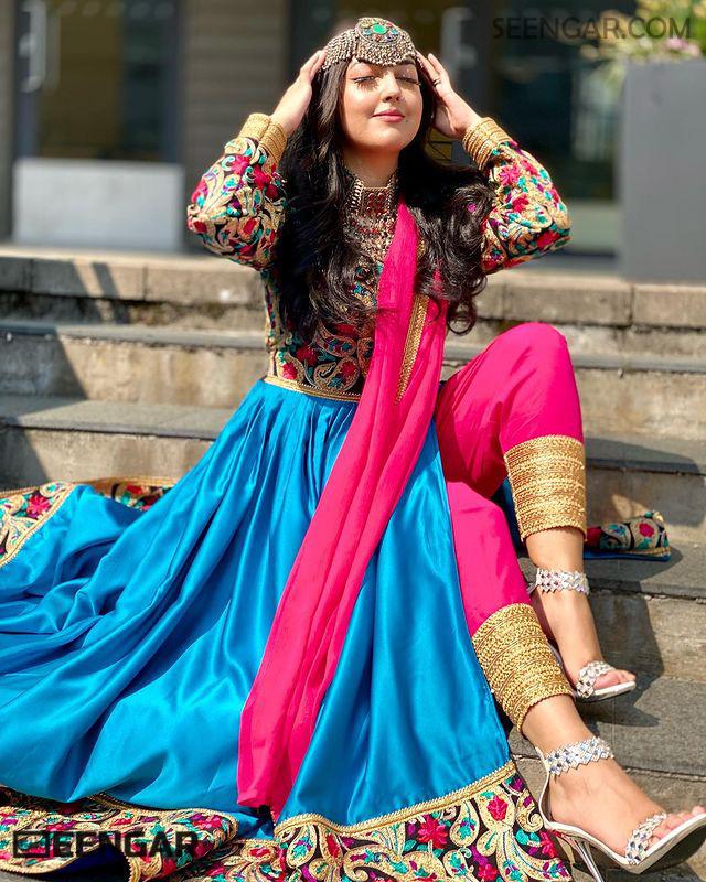 Blue Modern Afghan Dress