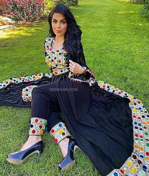Black Modern Afghan Dress